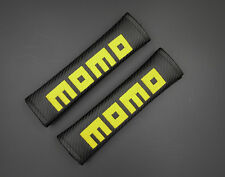 2 Momo Black Carbon Fiber Car Seat Belt Cover Shoulder Pad Free Shipping 051