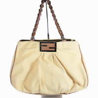 Fendi Canvas Woven Tote Hobo Bag Braided Handle Made in Italy Women's Gold Brown