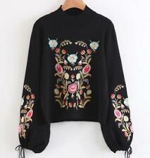 Women Floral Embroidered Softly Sweater Black Tops Balloon Sleeve Sweater Jumper