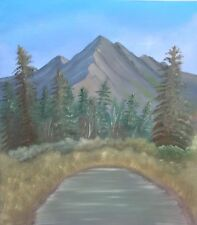 Oil Painting of N America Mountains lake, Bob Ross style on canvas by peteprocop