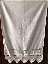 Antica Tenda O Grande Asciugamano Lino Reticello A Mano Pizzo Filet Uncinetto