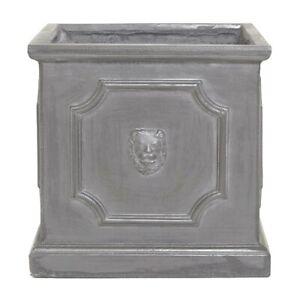 38cm Clayfibre Grey/Silver Lion Head Box Planter - Home Garden Plant Pot