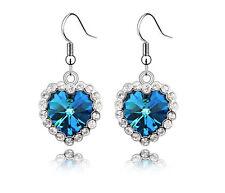 Classic Heart of Ocean Crystal Hook Earrings Dangle Rhinestone Alloy Earring