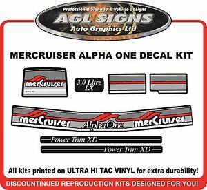 1984 - 1991  Mercury Alpha one 3.0 Litre LX  7 Piece Decal Kit Mercruiser