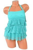 Island Escape Tiered Crochet Halter Tankini Swimsuit Top Size 6 NWT