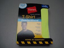 NWT Men's Hanes Quick Drying T-Shirt Size Large Safety Green 1 Shirt #467G