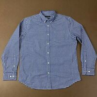 Banana Republic Mens Large Blue & White checks GRANT FIT Long Sleeve Oxford