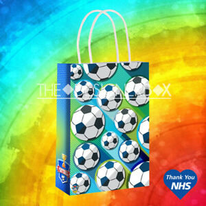 FOOTBALL PARTY BAGS Handles Craft Paper Wedding Birthday Loot Favour Gift Bag