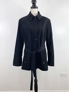 CALVIN KLEIN Women's Size XL Black Trench Coat Belted Button Front
