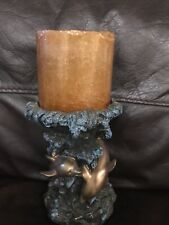 """Three Jumping Dolphin in Waves Resin Candle Holder Ocean Scenes 6"""" Tall 4"""" Top"""