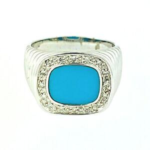 VINTAGE 14K SOLID WHITE  GOLD TURQUOISE & DIAMOND  RING~10   GRAMS