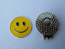 1 SET OF YELLOW SMILEY FACE GOLF BALL MARKER &  MAGNETIC HAT CLIP