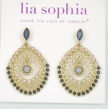 lia sophia signed jewlry gold matte tone stud earrings drop dangle free shipping