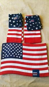 AMERICANA  AMERICAN FLAG 4 DISHCLOTHS,2 KITCHEN TOWELS,4 PLACEMATS 100% COTTON