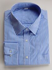 Ex M&S REGULAR FIT BLUE & WHITE CANDY STRIPE  100% COTTON SHIRT 14.5-18.5 B22
