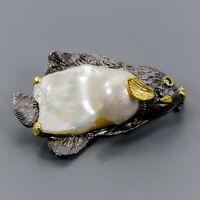 Baroque Pearl Brooch Silver 925 Sterling Fine art jewelry /NB09359