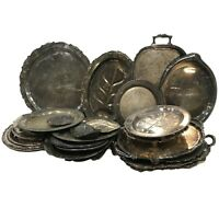 Silverplated trays Lot of 10 - Medieval Prop set - art deco -  plates dishes