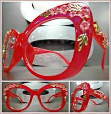 OVERSIZED VINTAGE RETRO Style Clear Lens EYE GLASSES Red Frame Gold Pink Floral
