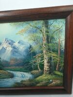 Oil Painting of Forest Landscape with Waterfalls Trees and Mountain Scene Barry