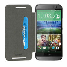 Caseit Slim Line Folio Case Cover + Screen Protector for HTC One M9 Black