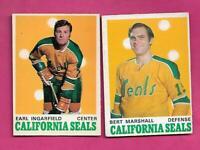 1970-71 OPC GOLDEN SEALS EARL INGARFIELD + BERT MARSHALL   CARD (INV# C5575)