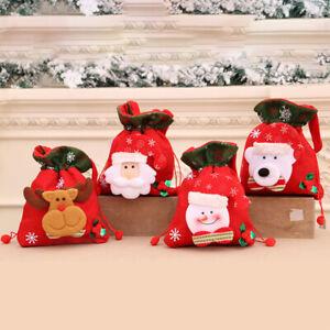 Christmas 3D Doll Candy Cute Gift Brushed Cloth Tote Drawstring Bag Xmas Decor/