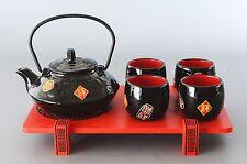 Asiatisches Teeservice / Teeset 6-tlg in schwarz 700ml mit Serviertablett m.hoch
