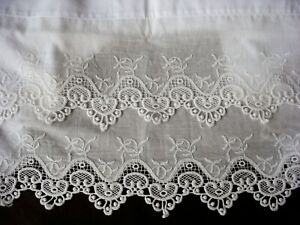 New PillowCases (2) White Cotton Sateen Embroidered Lace Standard Queen King M16