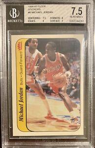 1986-87 Fleer Sticker #8 Michael Jordan Rookie RC BGS 7.5