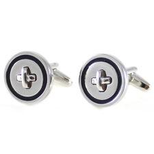 New Round Button Cufflink Rhodium Plated Button Cufflink With Color Rim 0359