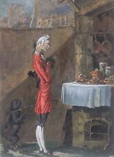 Carle VERNET1758-1836(inspiré de).Les Gastronomes sans argent.Gouache.27x18.SBD.