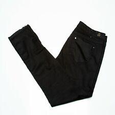 Womens H&M &Denim Jeans Size 30 Skinny Low Waist Ankle Black Waxed Look Zip Fly