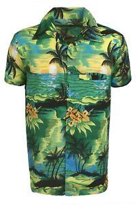 WOMENS LADEIS HAWAIIAN LOUD BEACH ALOHA HEN PARTY FANCY SHIRT GREEN BEACH PALM