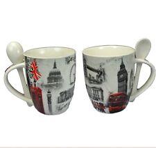 2x Tea Tazza con cucchiaio Vecchia Londra Design icon Big Ben Bus