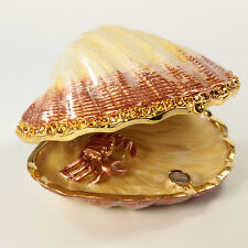 Bejeweled clam shaped trinket box with crab inside, figurine with crystals gold