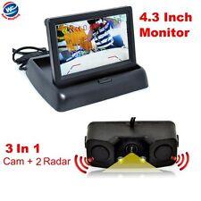 "4.3""Car Reverse Rear View Mirror Display Monitor+Backup HD Camera & Radar Sensor"