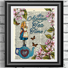 Alice in Wonderland dictionary book page artwork print tea time flowers poster.