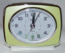 Quartz Retro Amplus Analogue Metallic Lime Battery Beep Alarm Clock Light PT 160