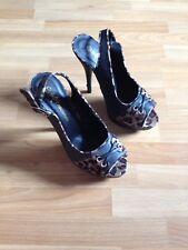 Ladies Internacionale Leopard Suede/Black Slingback Platform Stilettos-UK 5 (38)