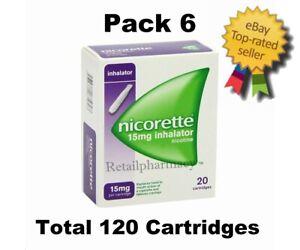 6 Packs of Nicorette 15mg Inhalator 20 Cartridges # Free Postage#Fast # 11/2023