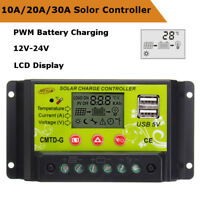 10A/20A/30A 12V 24V PWM Solar Panel Battery Charge Controller Regulator LCD USB