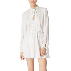 Avec Les Filles Dress M Medium White Silver Metallic Tie Neck Mini Long Sleeve