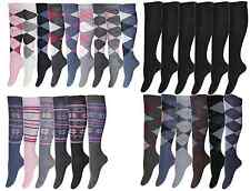 6 Paar Damen und Herren Kniestrümpfe Socken Lange Arbeitsocken Reitstrümpfe Karo