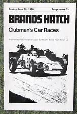Brands Hatch Clubman del coche de carreras Programa Oficial 28 Jun 1970