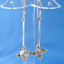 Yellow Citrine .925 Sterling Silver Earrings Handmade Nepal Artisan