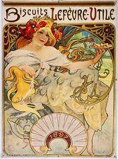 Biscuits Lefevre-Utile Vintage French Nouveau Poster Mucha Art Advertisement