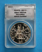 GREAT BRITAIN -  2011 Silver Britannia - ANACS MS70