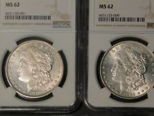 Lot of Seven(7) NGC MS 62 Morgan Dollars All Different Dates Seven Silver $1's