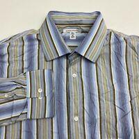 Banana Republic Button Up Dress Shirt Men's 17-17.5 Tall Long Sleeve Tan Blue