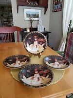 Certified International Susan Winget 4 Salad/Dessert Plates Folkart Snowmen
